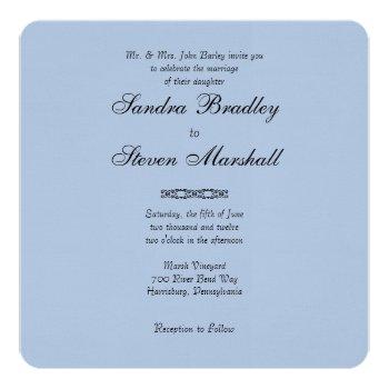 Simple Light Steel Blue Wedding Invitations