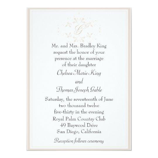 Simple Light Tan Monogram Wedding Invitation