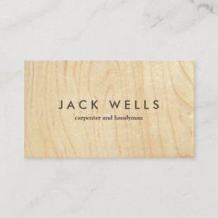 Handyman business cards zazzle simple light wood grain carpenter and handyman business card wajeb Gallery