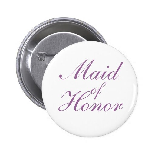 Simple lilac and white Maid Of Honor Button