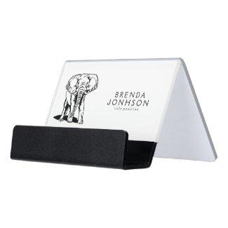 Simple Line Drawing Black Elephant Desk Business Card Holder