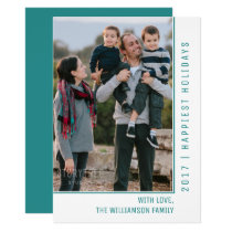 Simple Line Holiday Photo Card | Teal