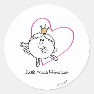 Simple Little Miss Princess | Pink Heart Classic Round Sticker