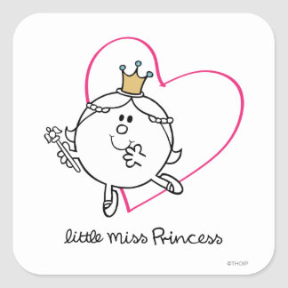 Simple Little Miss Princess | Pink Heart Square Sticker