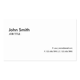 Simple llano moderno elegante profesional blanco tarjetas de visita