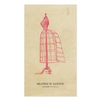 Simple llano rosado fresco de la forma del vestido tarjetas de visita