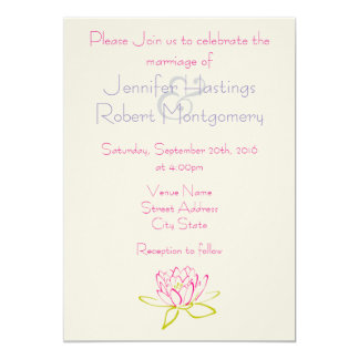 Simple Lotus Flower / Water Lily Wedding 5x7 Paper Invitation Card