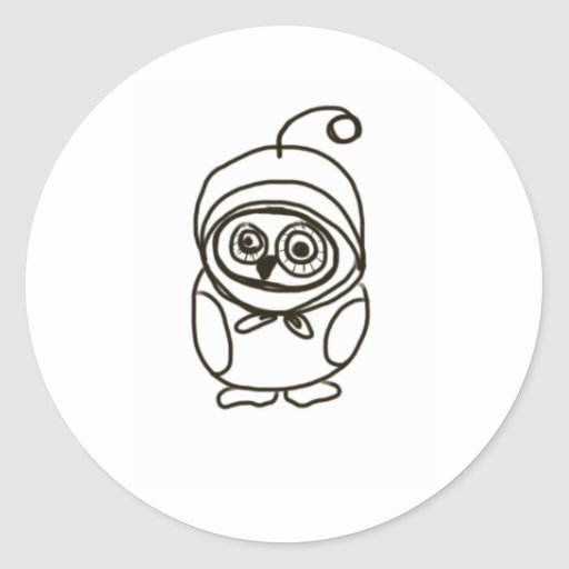 simple lovable owl classic round sticker