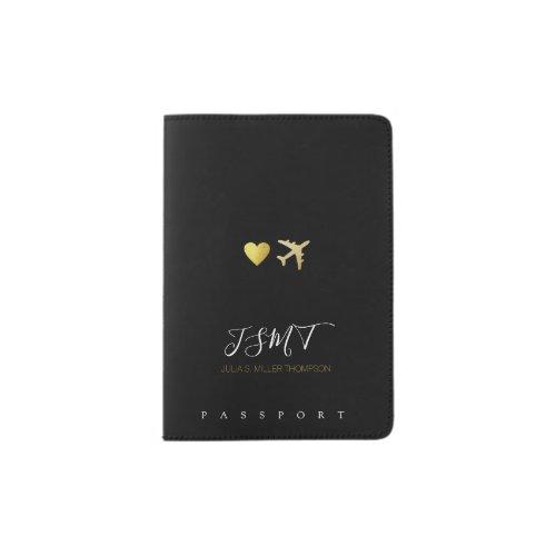 simple love heart  airplane initials  name blk passport holder
