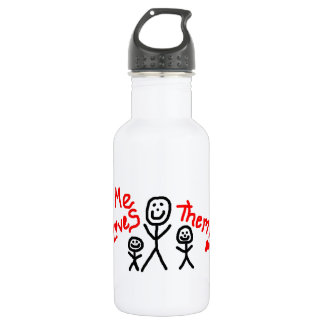Simple Love My Two Kids Cartoon Water Bottle