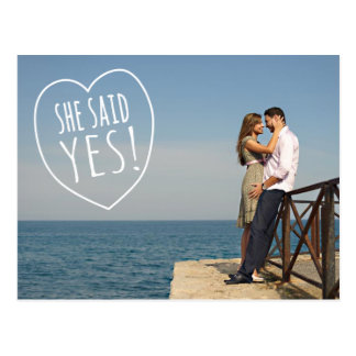 Simple Love She Said Yes Save the Date Postcard