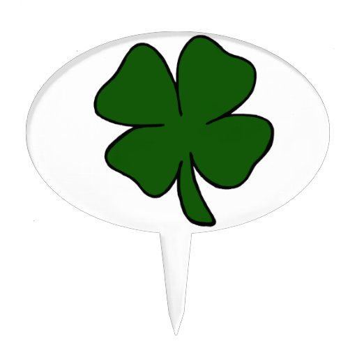 simple lucky four leaf clover design.png cake pick