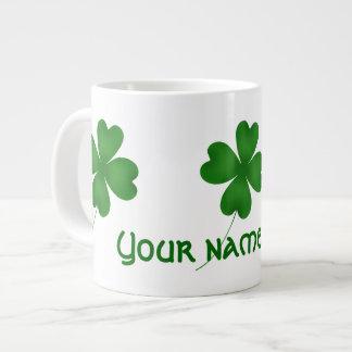 Simple lucky shamrocks giant coffee mug