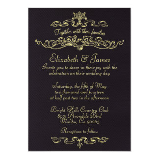 "Simple Luxury Black And Gold Wedding Invitations 5"" X 7"" Invitation Card"