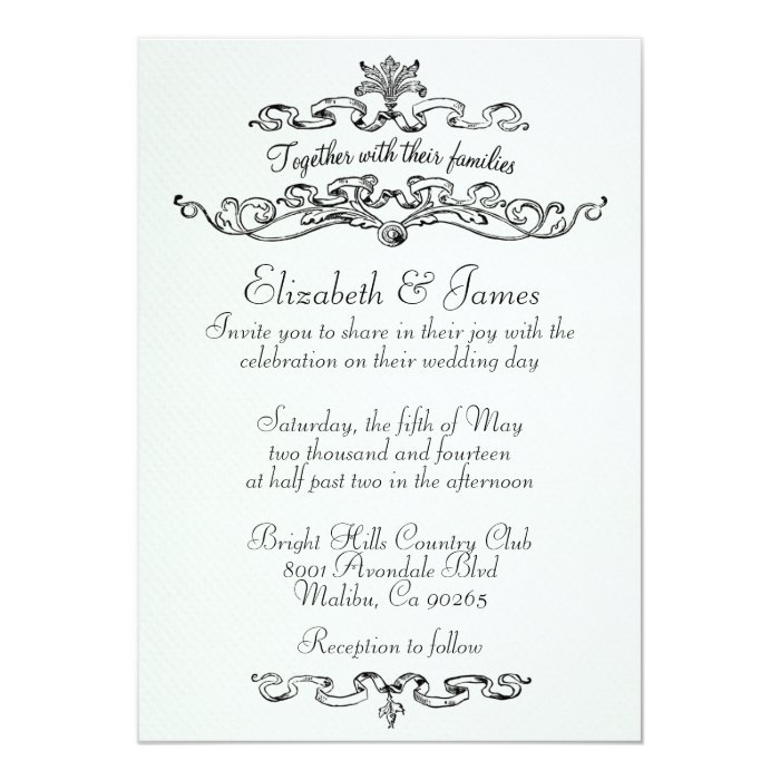 Simple Luxury Black And White Wedding Invitations