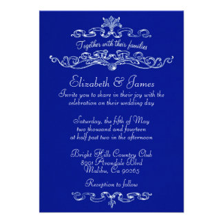 Simple Luxury Navy Blue Wedding Invitations Announcements