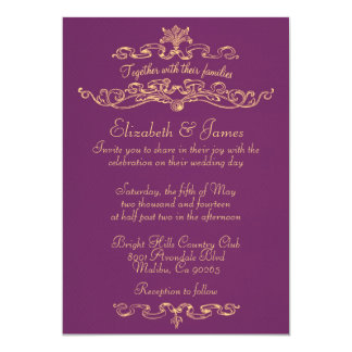"Simple Luxury Purple And Gold Wedding Invitations 5"" X 7"" Invitation Card"