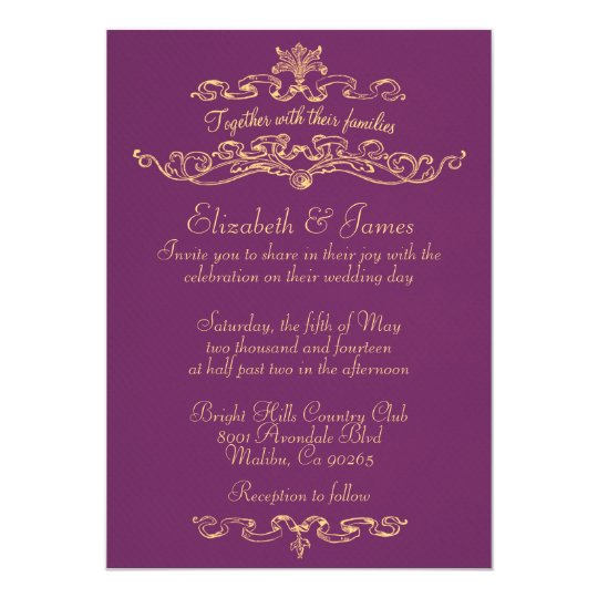 Gold And Purple Wedding Invitations: Simple Luxury Purple And Gold Wedding Invitations
