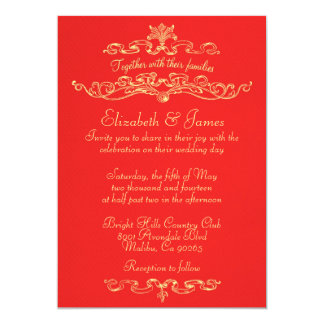 Simple Luxury Red And Gold Wedding Invitations Custom Announcements