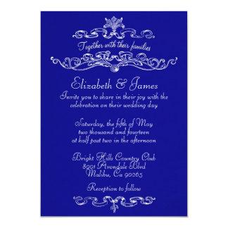 Simple Luxury Royal Blue Wedding Invitations