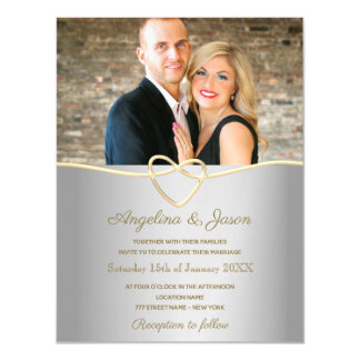 Simple Luxury Silver and Gold Foil Heart Wedding Magnetic Invitation