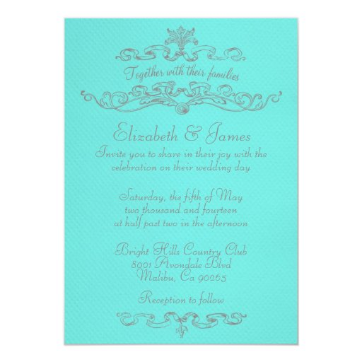Simple Luxury Teal And Silver Wedding Invitations
