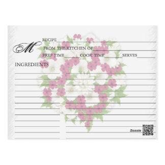 Simple Magenta Flower Bouquet Recipe Cards