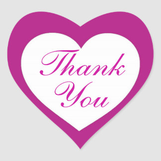 Simple magenta white thank you heart stickers