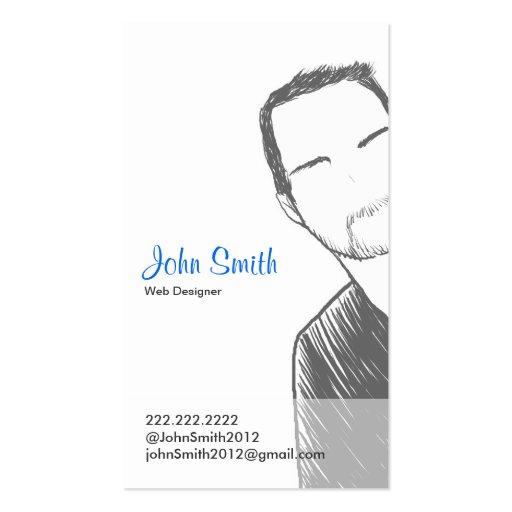 Simple Male short hair Portrait Profile Card