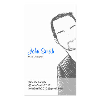 Simple Male short hair Portrait Profile Card Double-Sided Standard Business Cards (Pack Of 100)