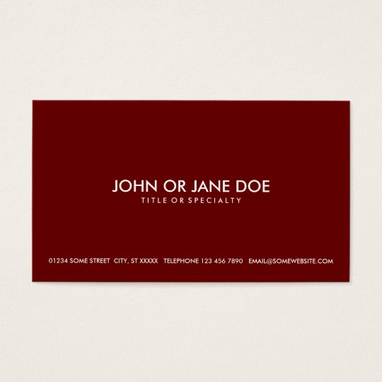 simple maroon business card