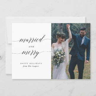 Simple Married and Merry Holiday Photo Card