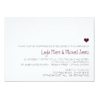 Simple Marsala heart wedding invitation