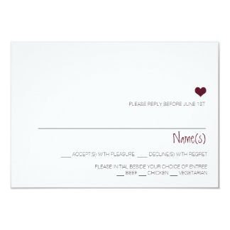 Simple Marsala heart wedding reply card