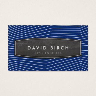 SIMPLE masculine chalkboard badge bold navy blue Business Card