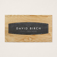 Simple Masculine Chalkboard Badge Wood Grain Look Business Card at Zazzle