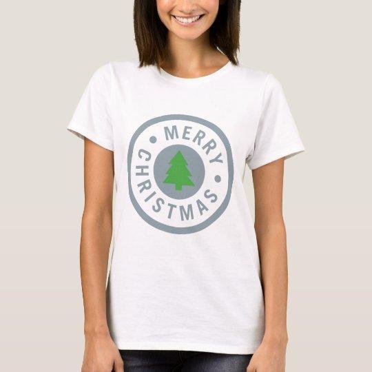 Simple Merry Christmas circle T-Shirt