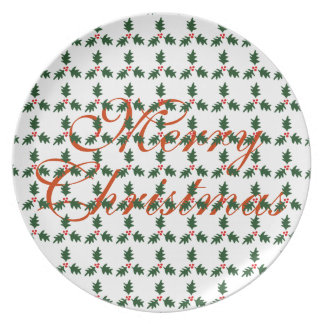 Simple Merry Christmas Holly Berry Sprig Pattern Melamine Plate