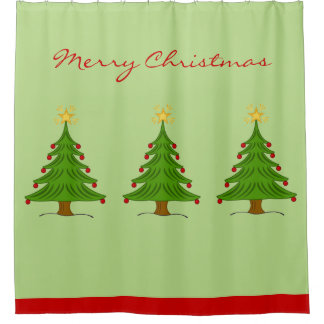 Simple Merry Christmas Tree Star In Red Green Shower Curtain