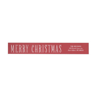 Simple Merry Christmas Wrap Around Address Label