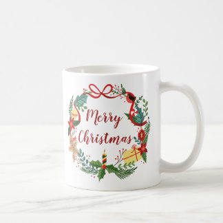 Simple Merry Christmas Wreath | Classic Mug