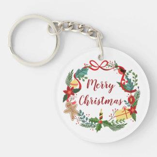 Simple Merry Christmas Wreath | Keychain