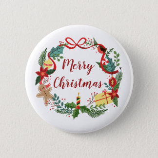 Simple Merry Christmas Wreath | Pin Button