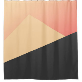 Simple Minimal Peach  Coral amp Black Geometric Shower Curtain And Curtains Zazzle