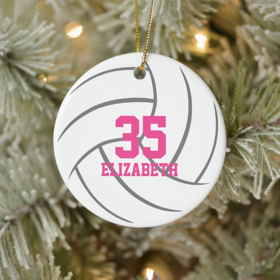 simple minimal personalized girls volleyball ceramic ornament
