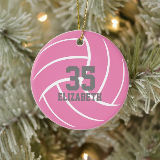 simple minimal pink personalized girls volleyball ceramic ornament