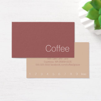 Simple Minimal Swiss Loyalty Coffee Punch-Card Business Card