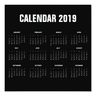 Simple Minimalist 2019 Calendar Invitation