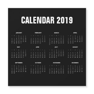 Simple Minimalist 2019 Calendar | Magnetic Card