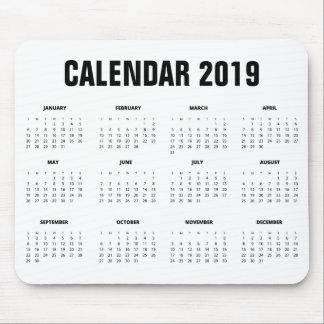 Simple Minimalist 2019 Calendar | Mousepad